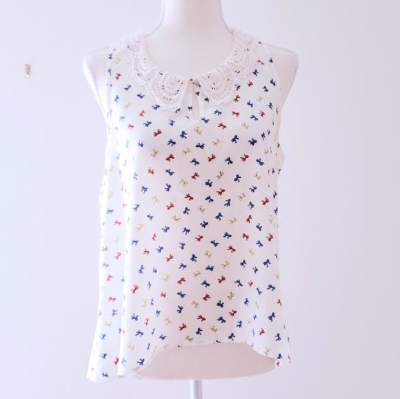 Maude Tops - Maude crochet collar dainty print blouse